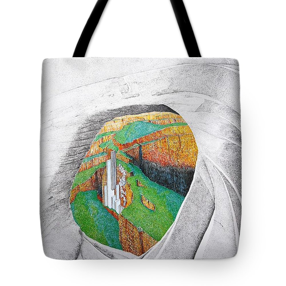 Rocks Tote Bag featuring the painting Cornered Stones by A Robert Malcom