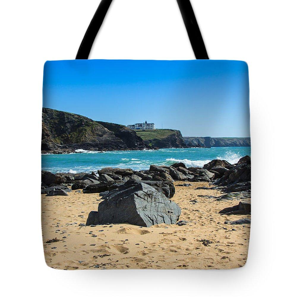 Gunwalloe Cornwall Tote Bag featuring the photograph Cornish Seascape Gunwalloe by Brian Roscorla
