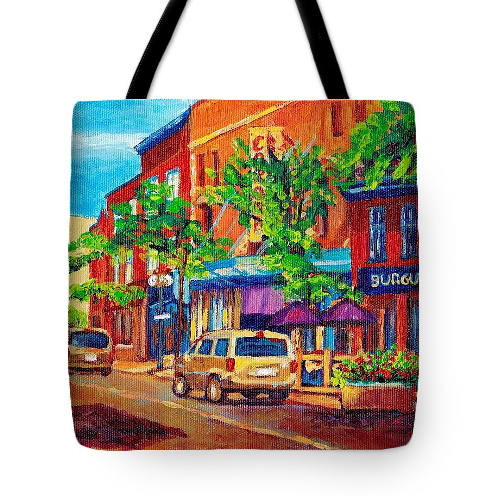 Montreal Tote Bag featuring the painting Corona Theatre Presents The Burgundy Lion Rue Notre Dame Montreal Street Scene By Carole Spandau by Carole Spandau
