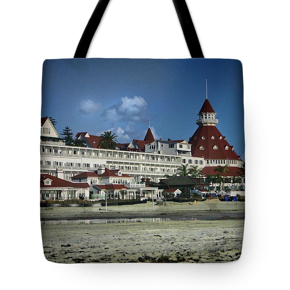 Coronado Tote Bag featuring the digital art Coronado Hotel by Georgianne Giese
