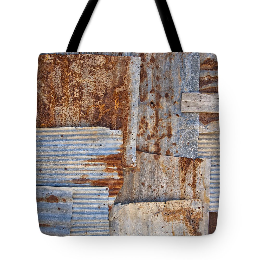 Iron Tote Bag featuring the photograph Corrugated Iron Background by Antony McAulay