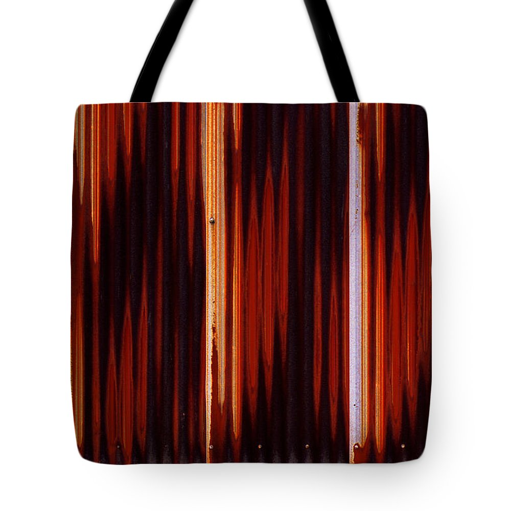 Corrugated Tote Bag featuring the photograph Corrugated Patterns In Orange And Black by Greg Kluempers