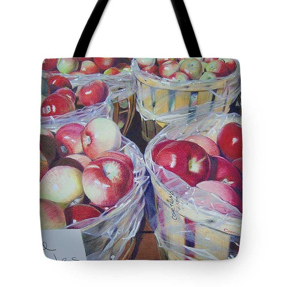 Apple Tote Bag featuring the mixed media Cortland Apples by Constance Drescher