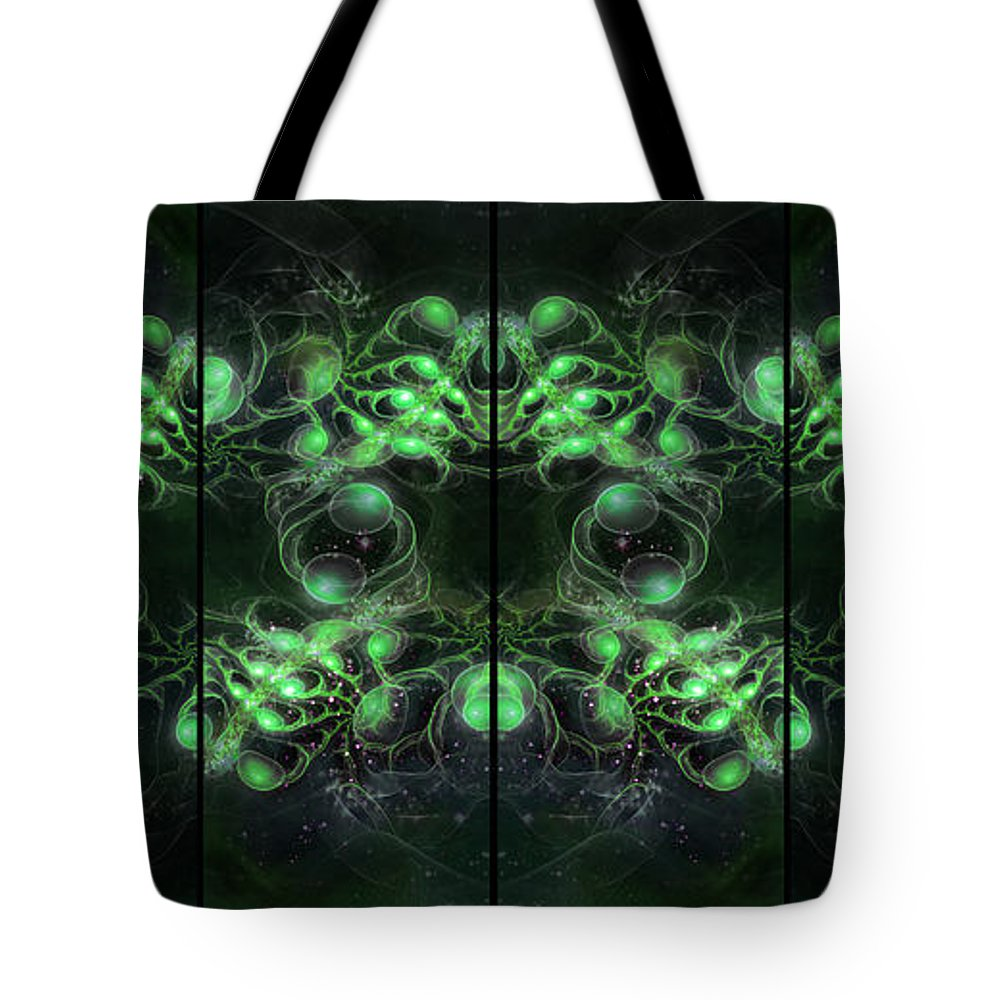 Corporate Tote Bag featuring the digital art Cosmic Alien Eyes Green by Shawn Dall
