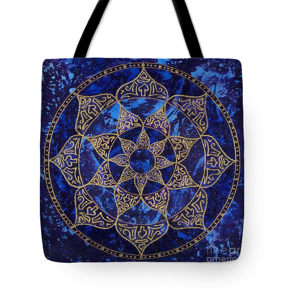 Mandala Tote Bag featuring the painting Cosmic Blue Lotus by Charlotte Backman