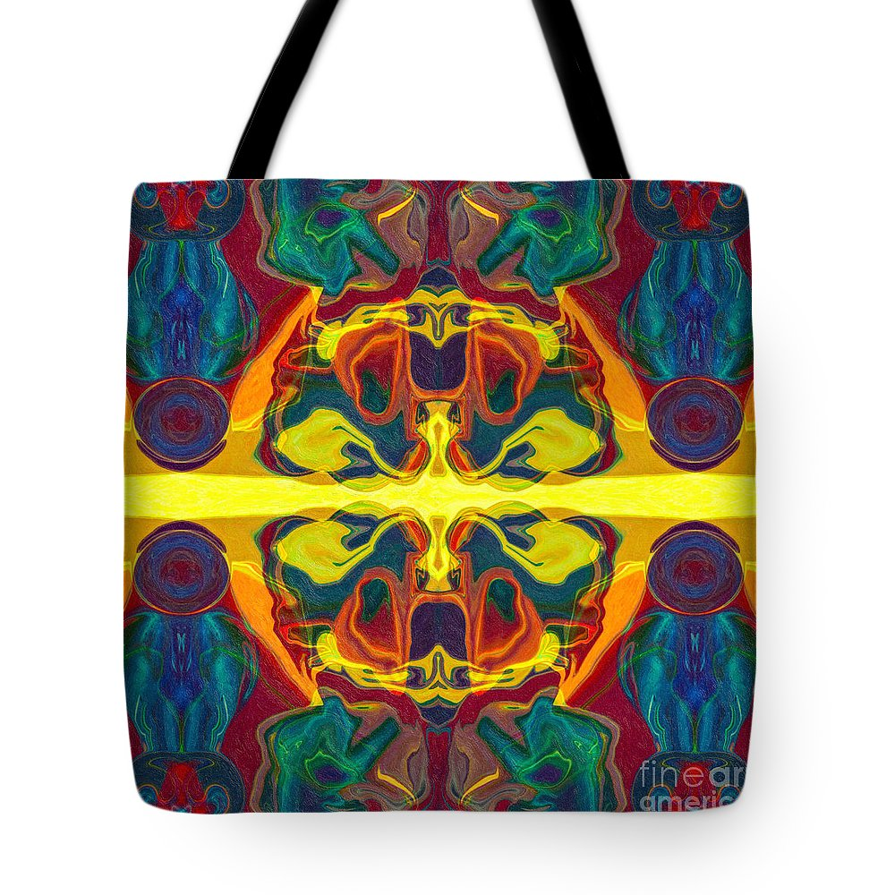 1x1 Tote Bag featuring the painting Cosmic Designs Abstract Pattern Artwork by Omaste Witkowski