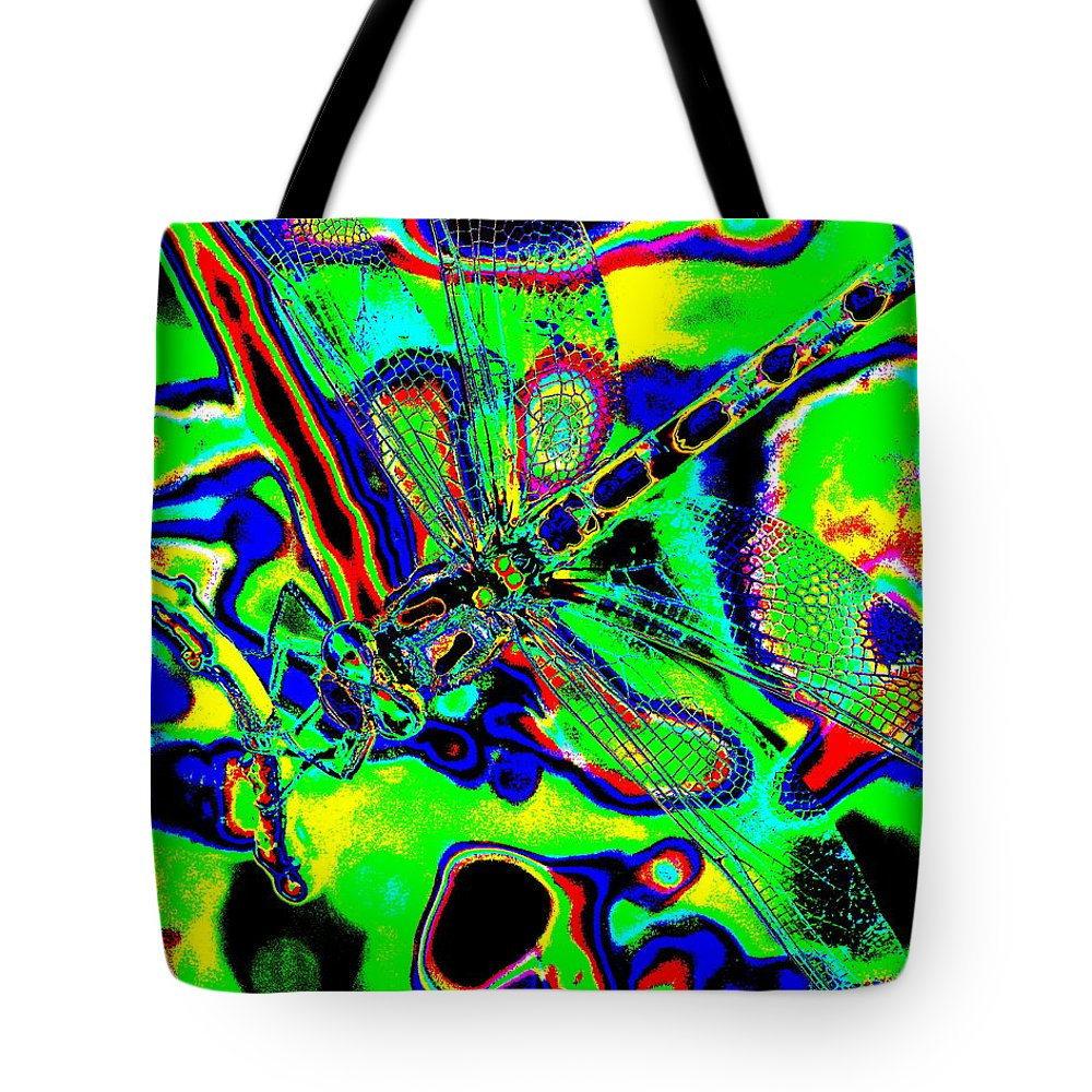 Dragonflies Tote Bag featuring the photograph Cosmic Dragonfly Art 2 by Ben Upham III