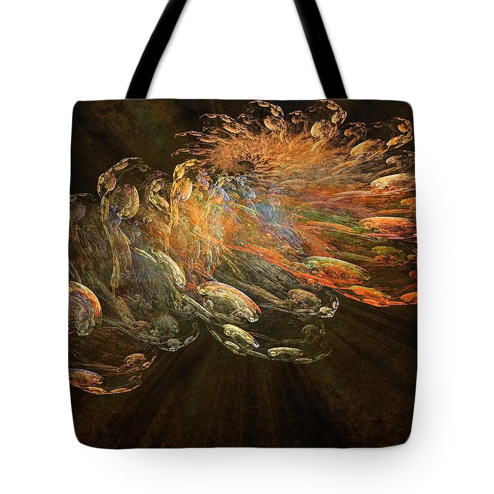 Cosmic Dust Tote Bag featuring the painting Cosmic Dust And Light Beauty Fine Fractal Art by Georgeta Blanaru