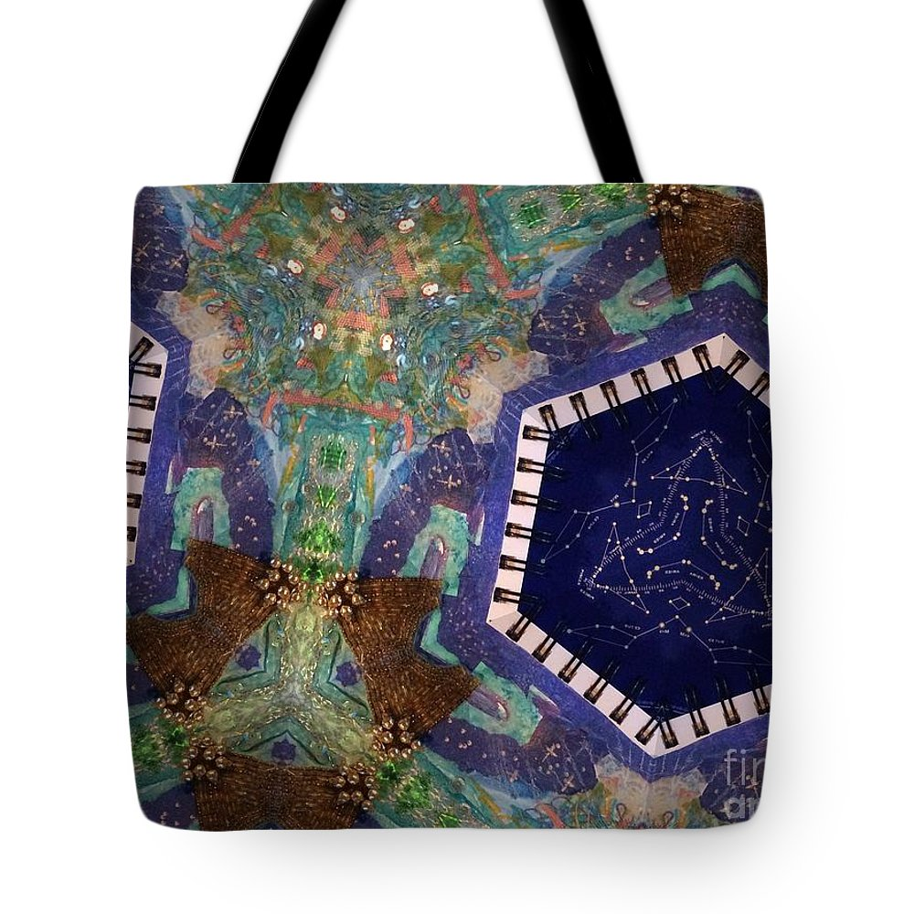 Star Charts Tote Bag featuring the photograph Cosmic Flight Of Dragon by Donna Spencer