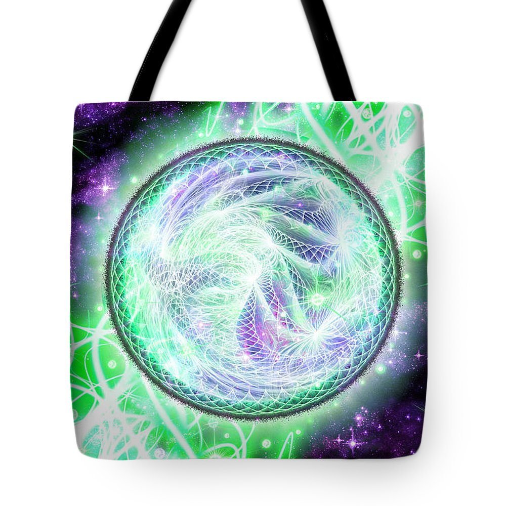 Corporate Tote Bag featuring the digital art Cosmic Lifestream by Shawn Dall