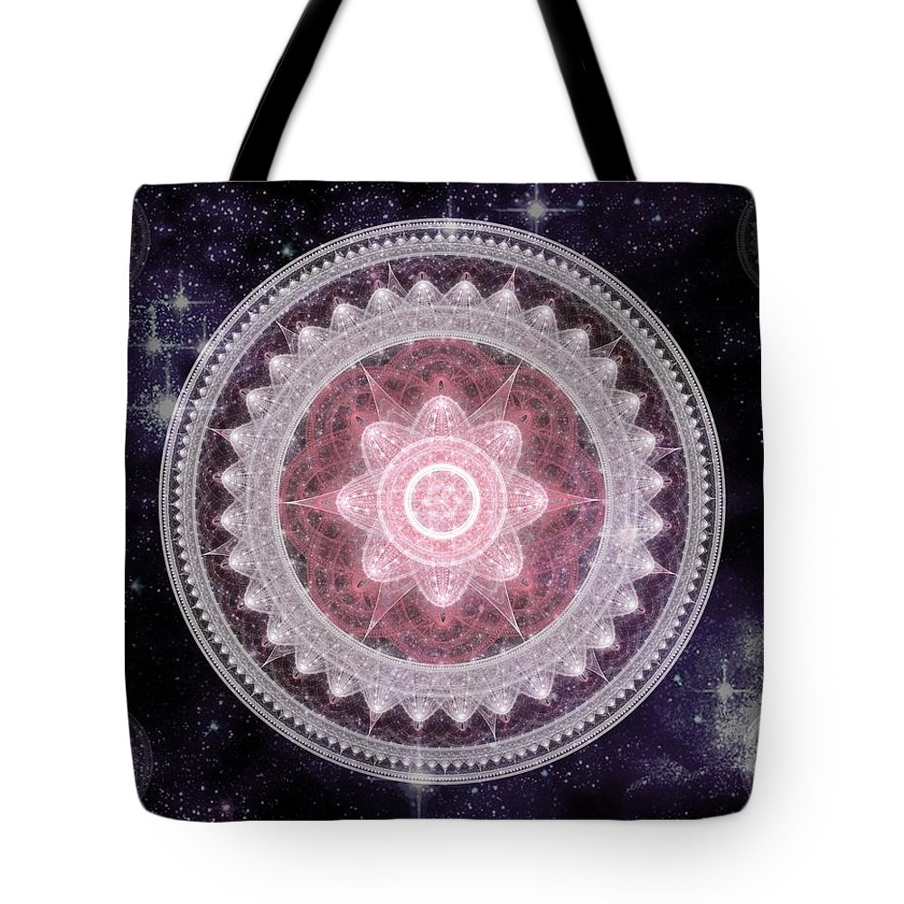 Corporate Tote Bag featuring the digital art Cosmic Medallions Fire by Shawn Dall