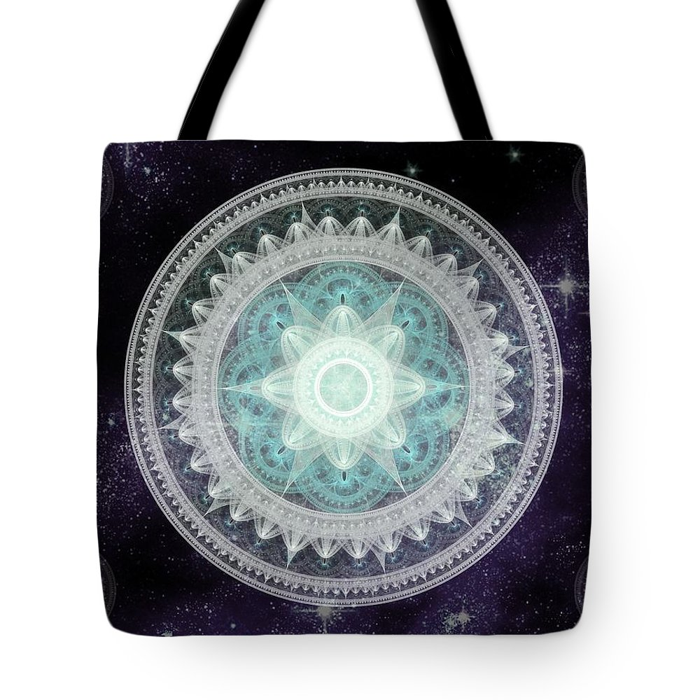 Corporate Tote Bag featuring the digital art Cosmic Medallions Water by Shawn Dall