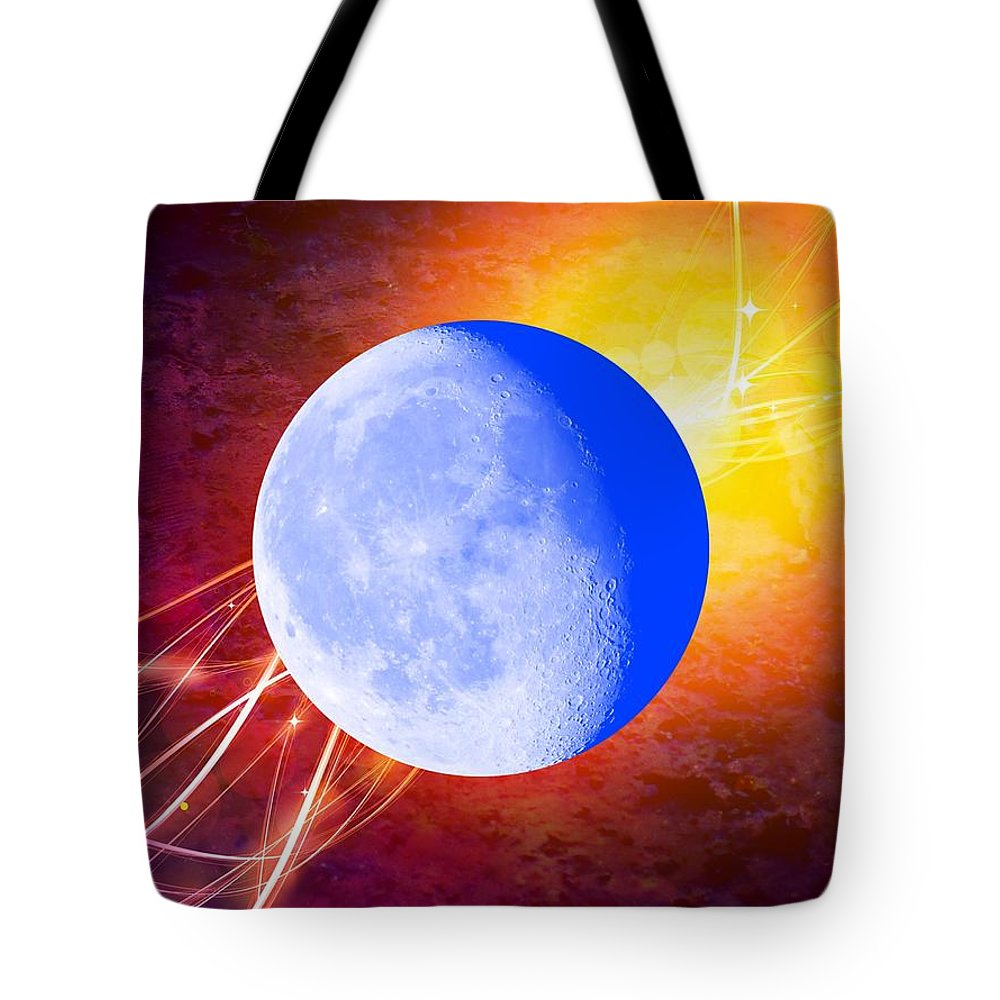 Moon Tote Bag featuring the mixed media Cosmic Rhythm - Within Border by Leanne Seymour