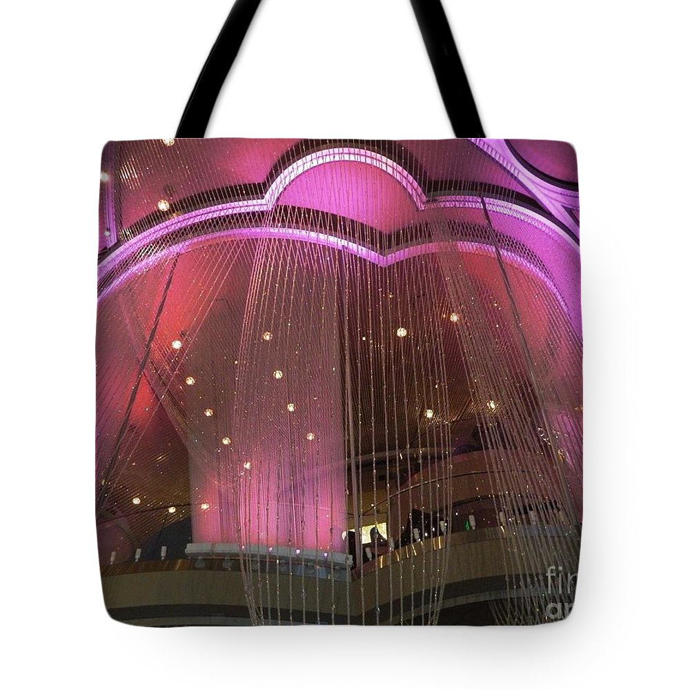 Cosmopolitan Tote Bag featuring the photograph Cosmo Chandeliers by Bari Demers