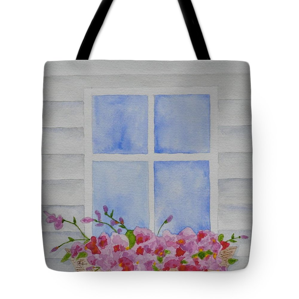Cottage Window Tote Bag featuring the painting Cottage Window by Sally Rice