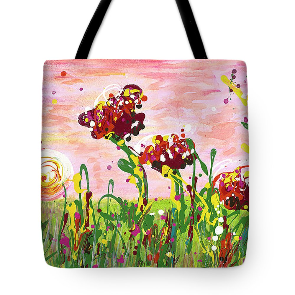 Poppies Tote Bag featuring the painting Cotton Candy Flowers by Nadine Rippelmeyer