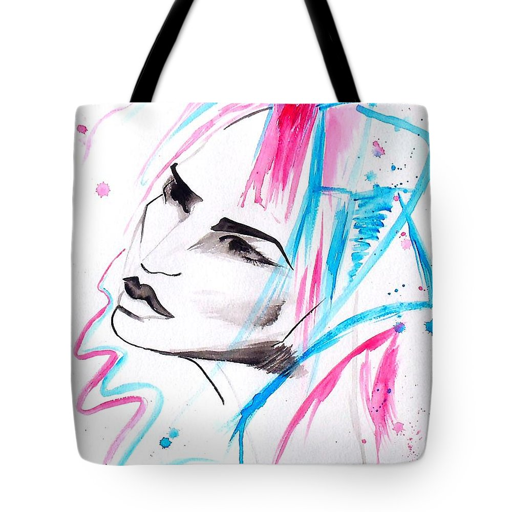 Pink Tote Bag featuring the painting Cotton Candy Girl by Oddball Art Co by Lizzy Love