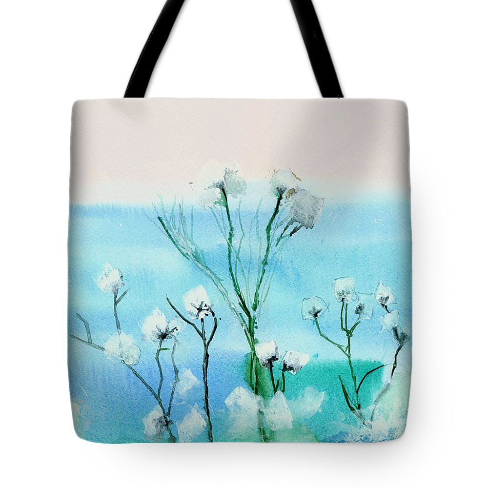 Floral Tote Bag featuring the painting Cotton Poppies by Anil Nene