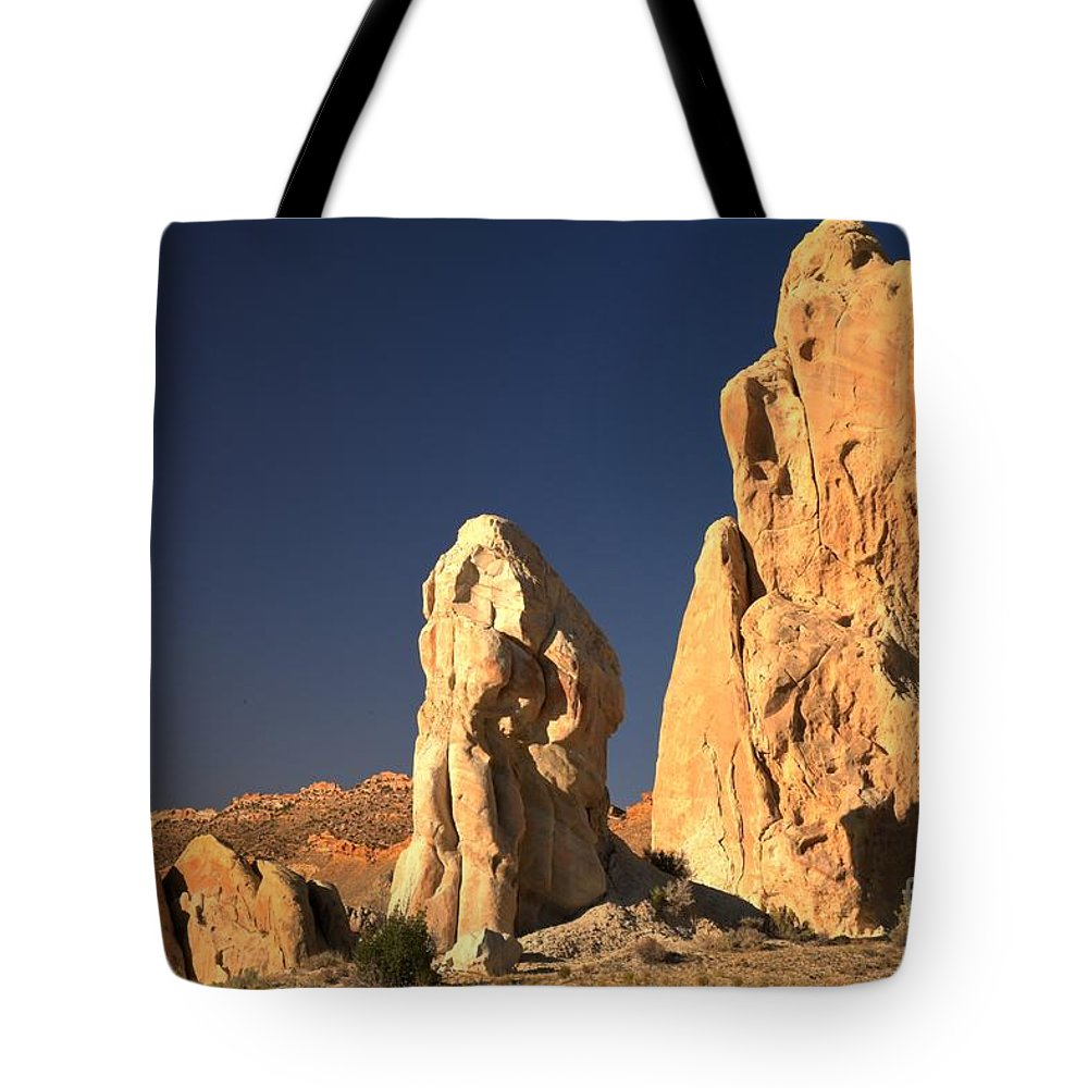 Cottonwood Road Tote Bag featuring the photograph Cottonwood Towers by Adam Jewell