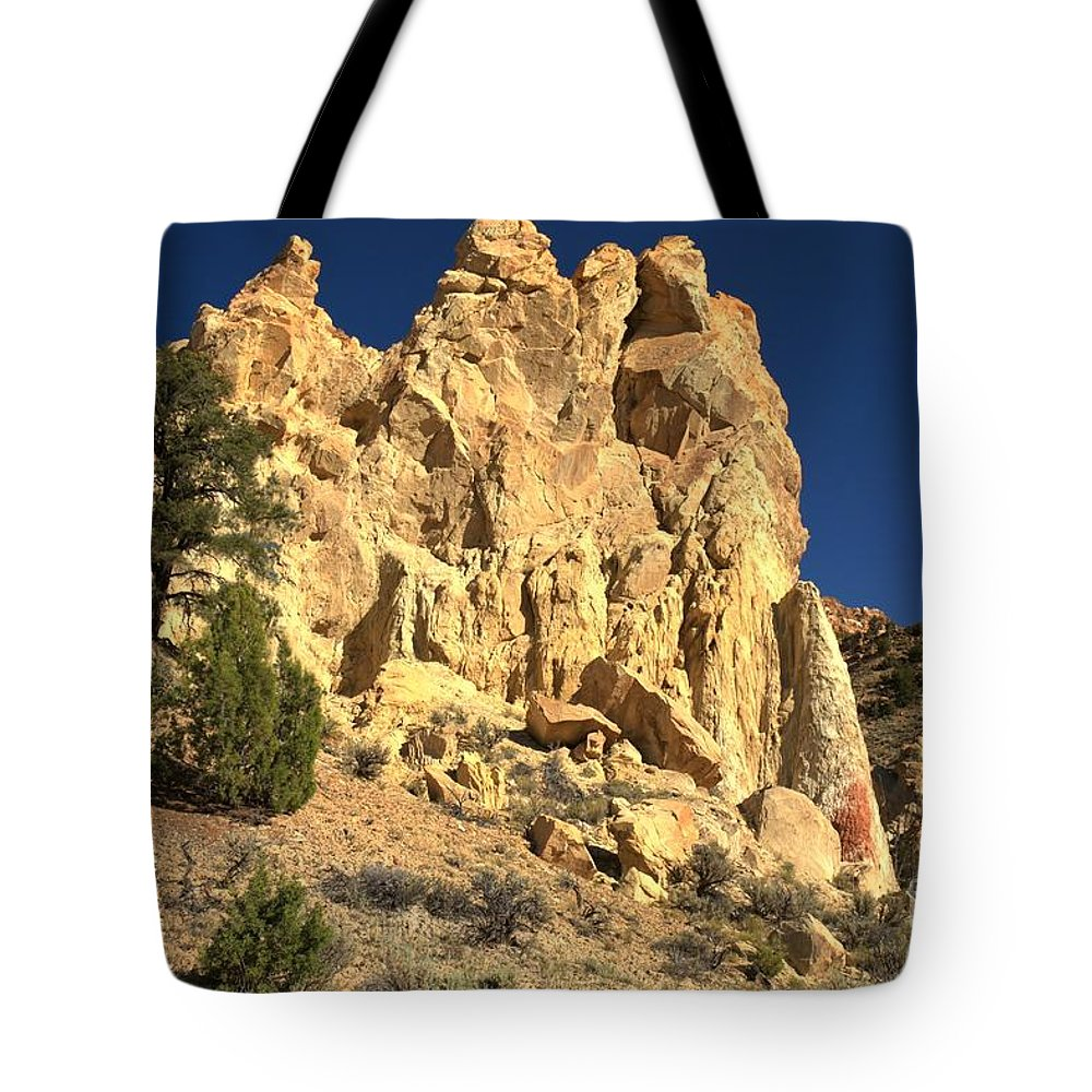 Cottonwood Road Tote Bag featuring the photograph Cottonwood Yellow Towers by Adam Jewell