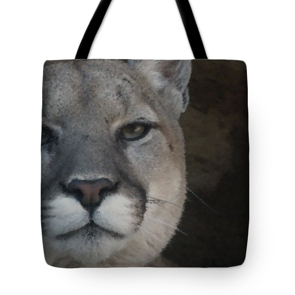 Animals Tote Bag featuring the digital art Cougar Digitally Enhanced by Ernie Echols