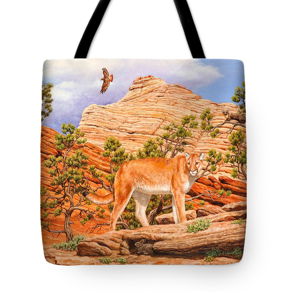 Cougar Tote Bag featuring the painting Cougar - Don't Move by Crista Forest