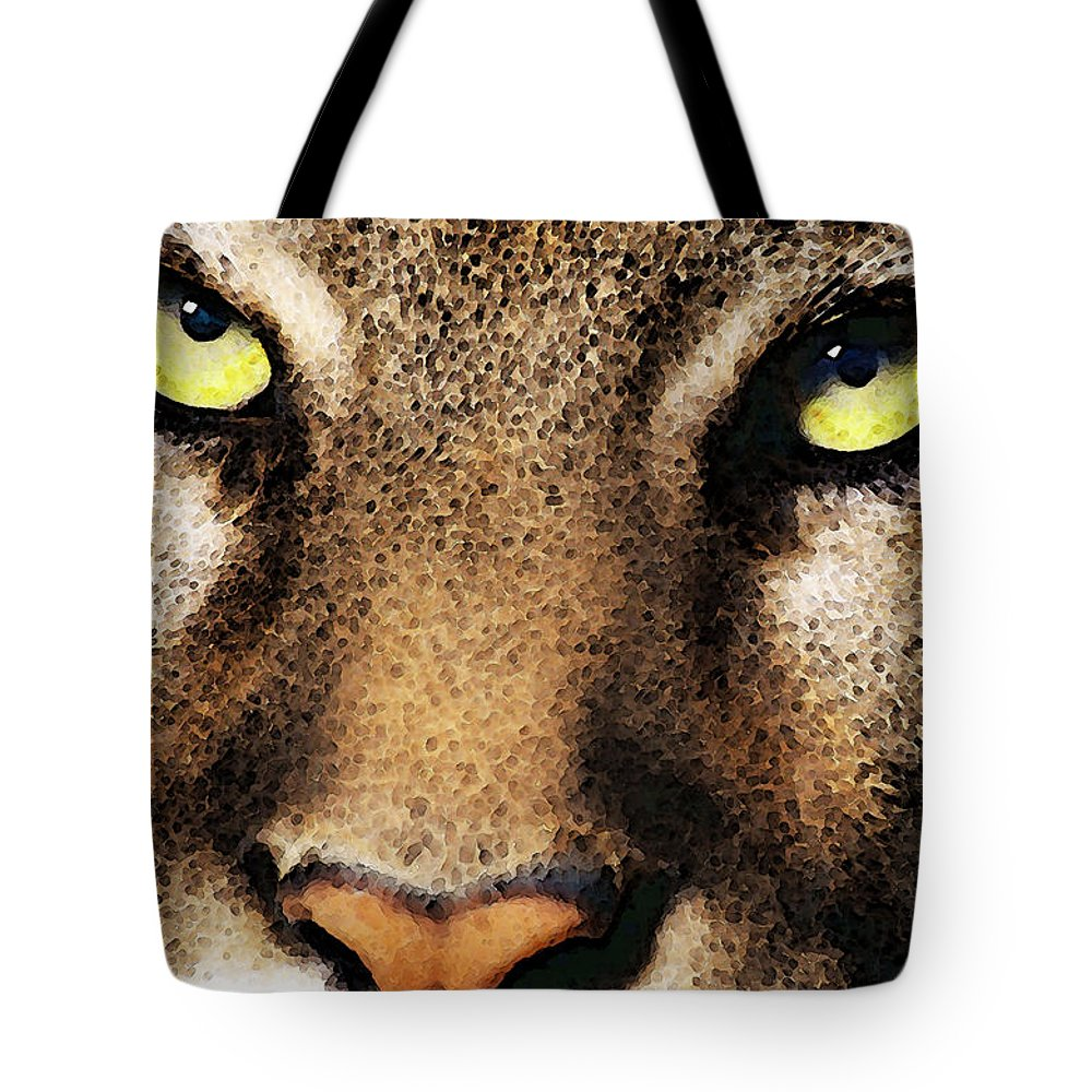 Cougar Tote Bag featuring the painting Cougar Eyes by Sharon Cummings
