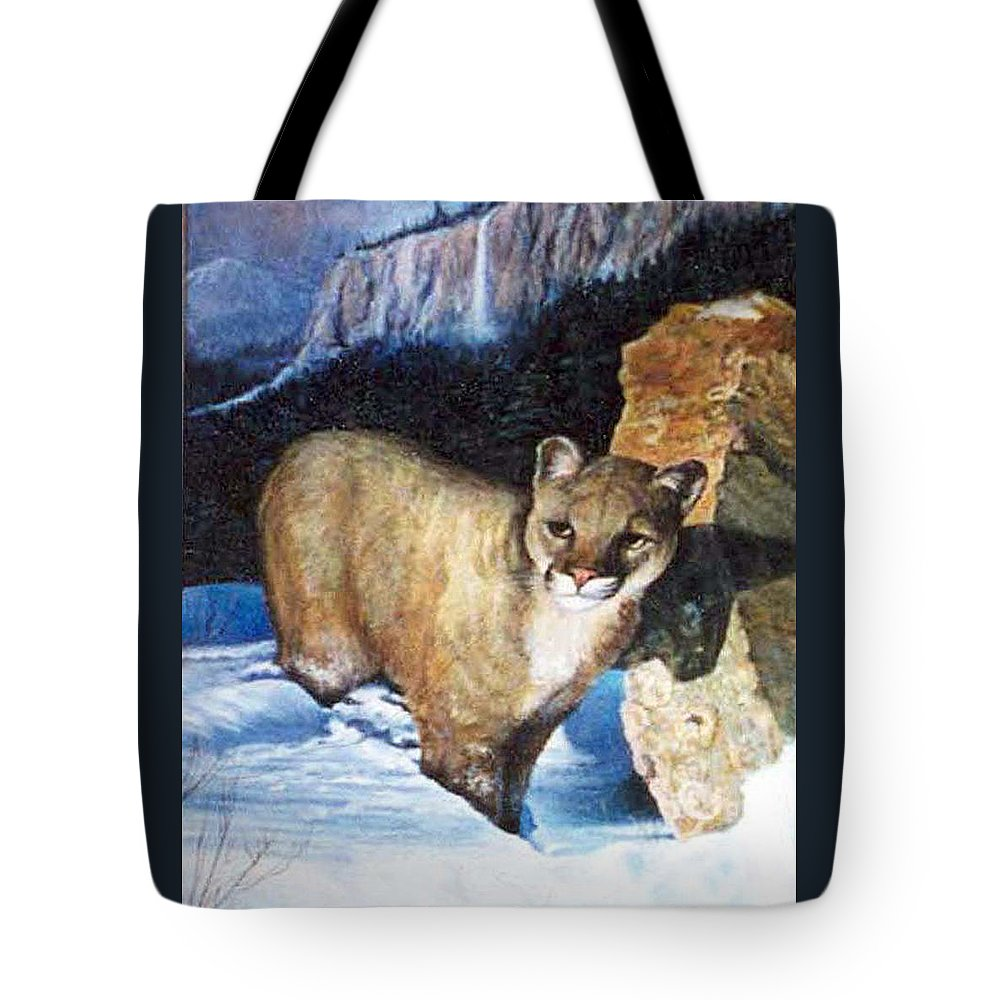 Cat Tote Bag featuring the painting Cougar In Snow by Donna Tucker