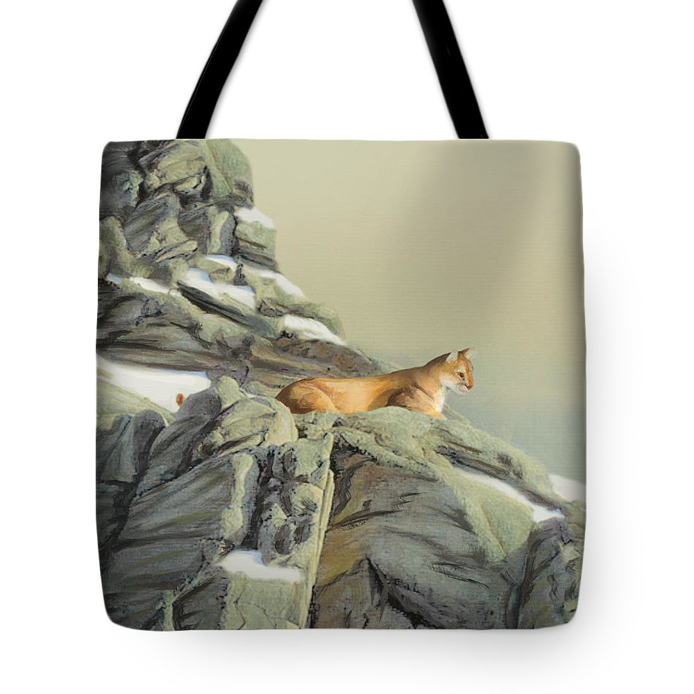 Cougar Tote Bag featuring the painting Cougar Perch by Jane Girardot