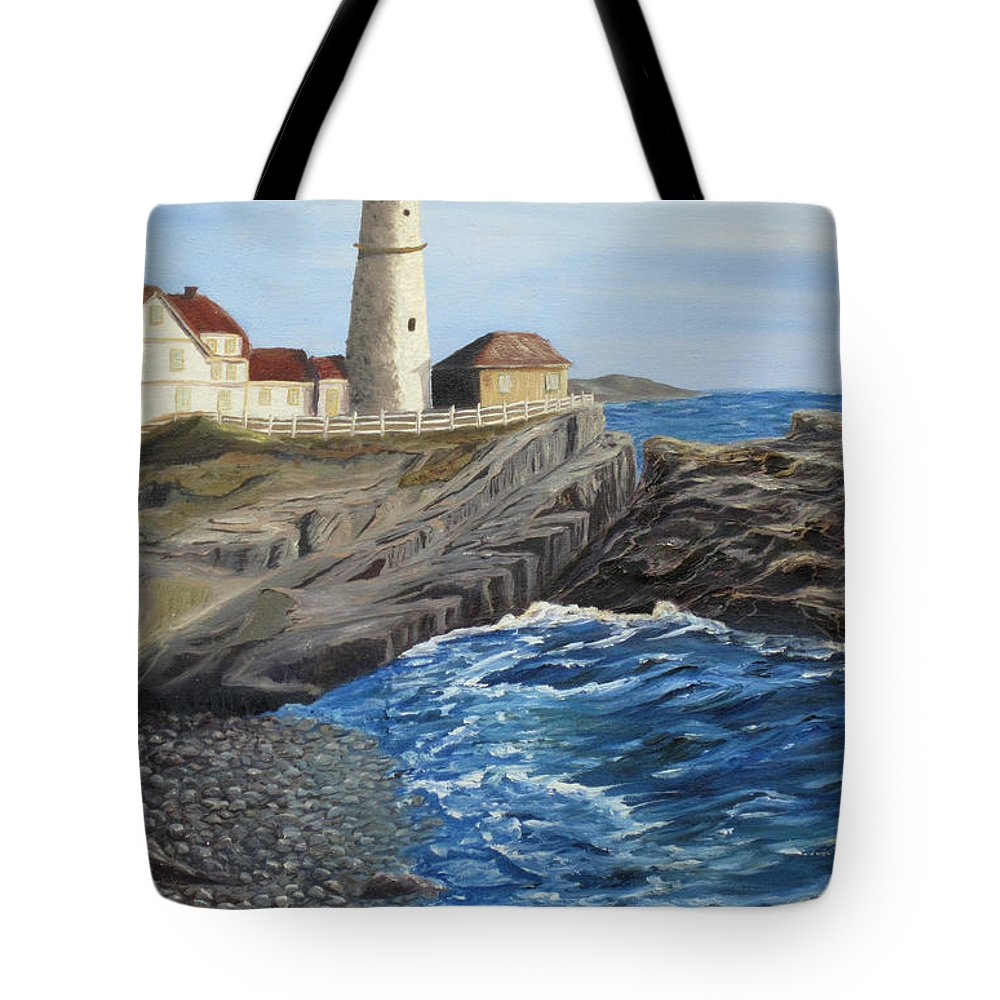 Seascape Tote Bag featuring the painting Could Be Portland by Barbara McDevitt