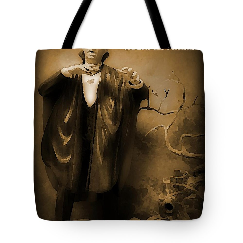 Nightmares Tote Bag featuring the painting Count Dracula In Sepia by John Malone