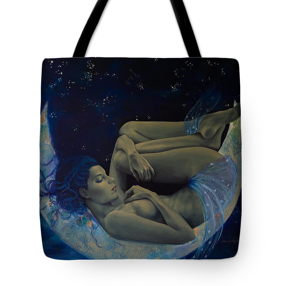 Nude Tote Bag featuring the painting Counting Stars by Dorina Costras