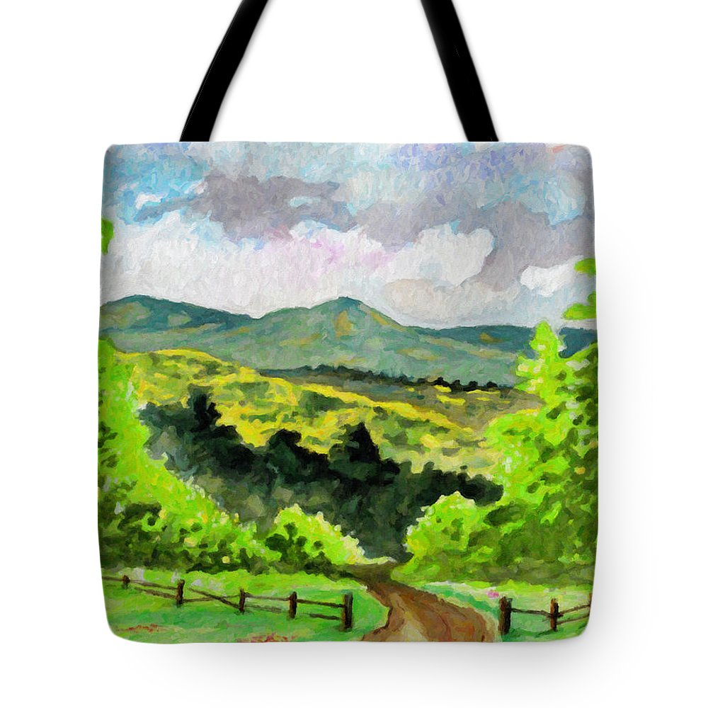Land Tote Bag featuring the painting Country by Anthony Mwangi
