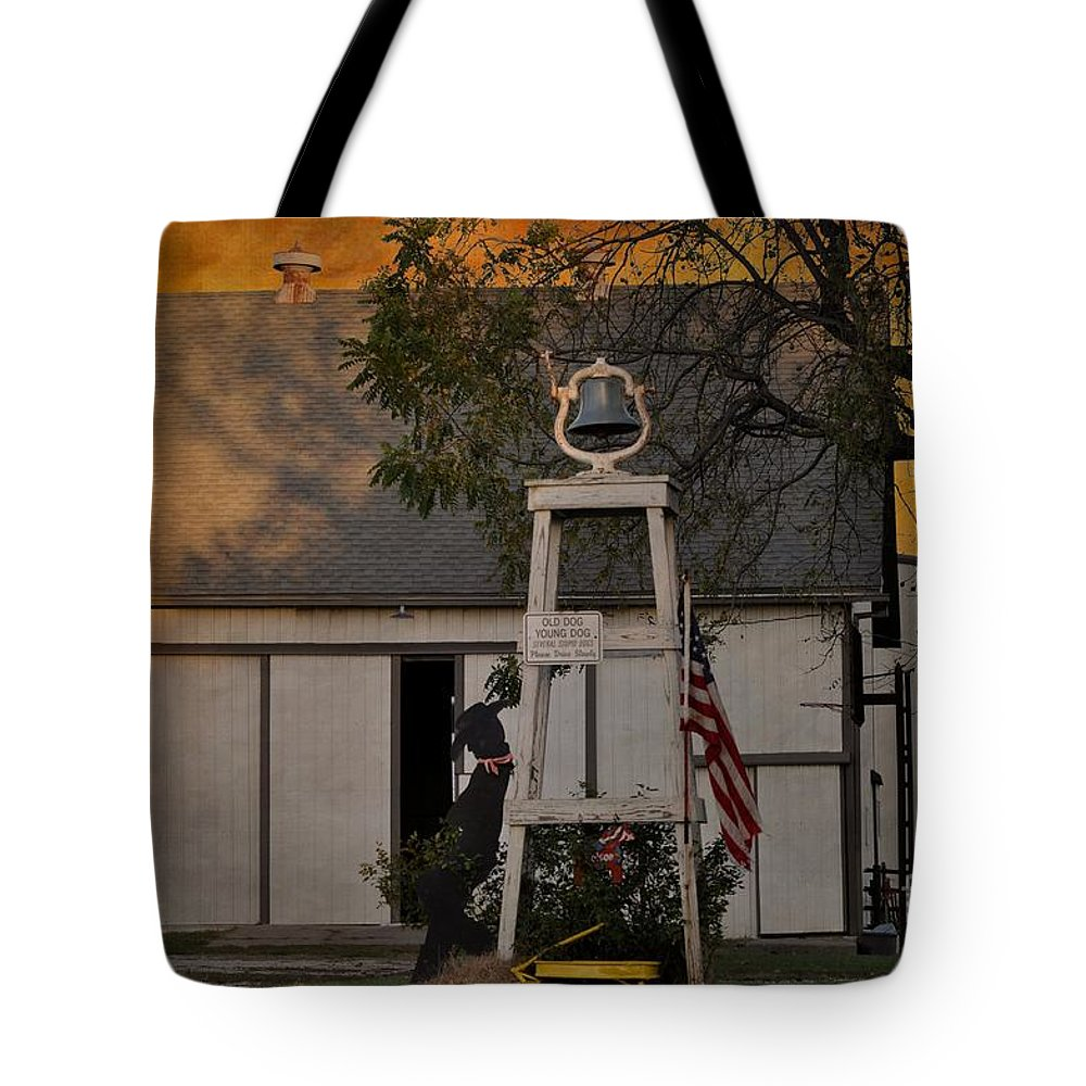 Country Charm - Old Dog Young Dog Several Stupid Dogs - Please Drive Slowly Tote Bag featuring the photograph Country Charm - Old Dog Young Dog Several Stupid Dogs - Please Drive Slowly by Liane Wright