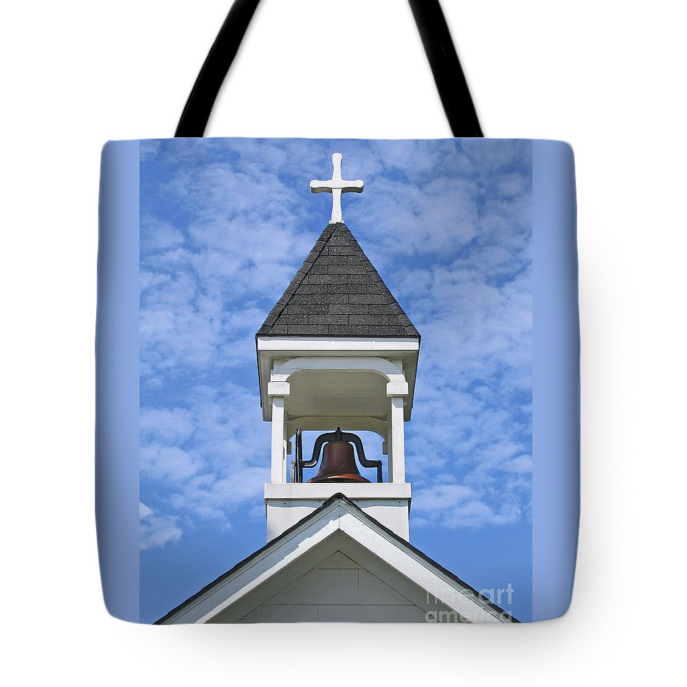 Cross Tote Bag featuring the photograph Country Church Bell by Ann Horn