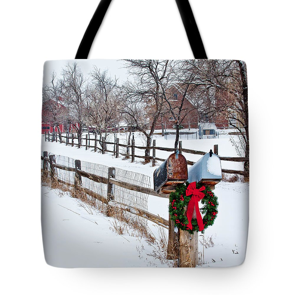 Christmas Tote Bag featuring the photograph Country Holiday Cheer by Teri Virbickis