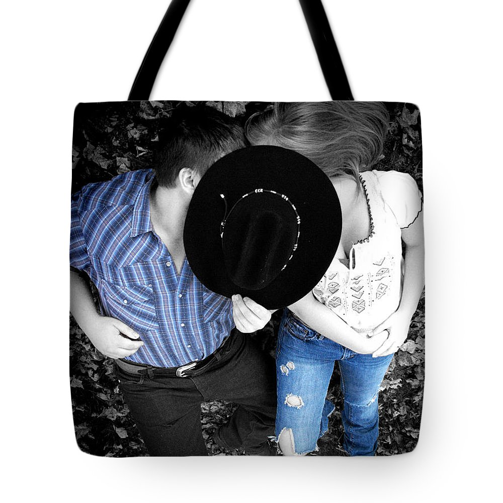 Cowboy Hat Tote Bag featuring the photograph Country Kissin by Kristie Bonnewell