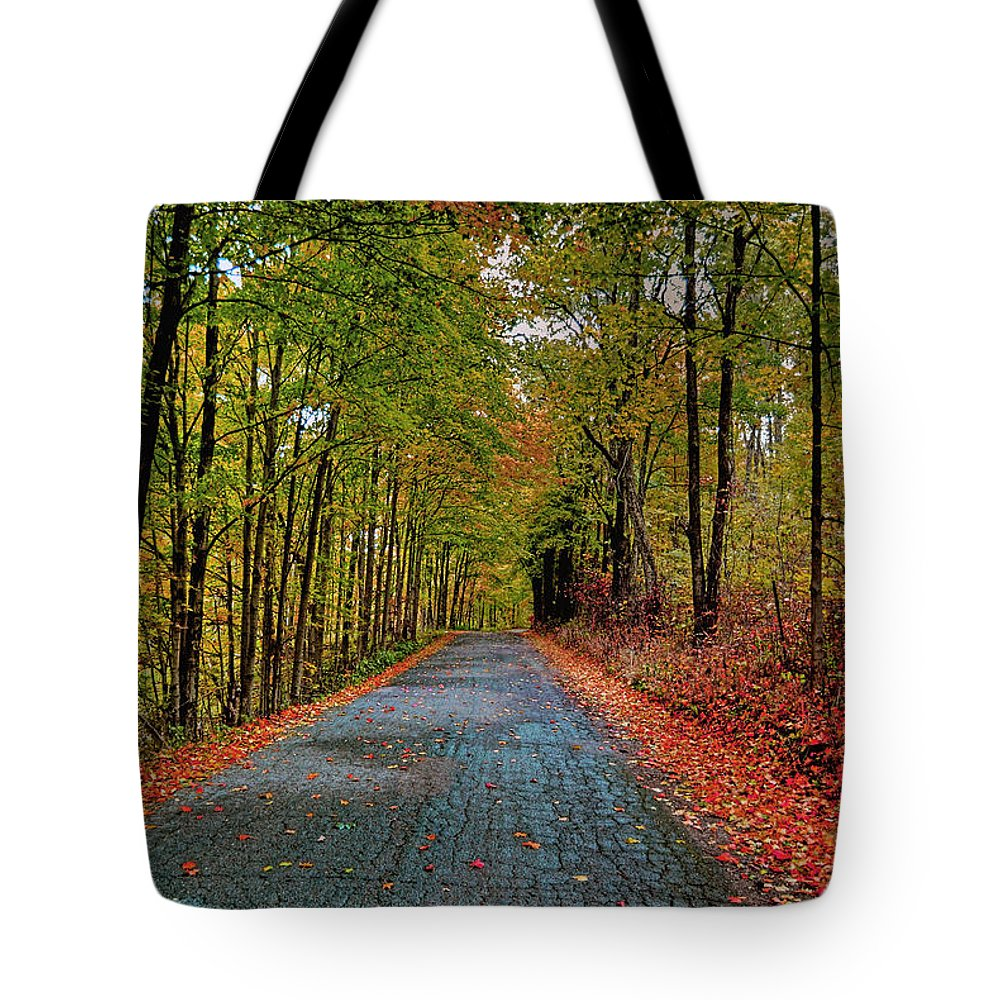 Autumn Tote Bag featuring the photograph Country Lane In Autumn by Mark Orr