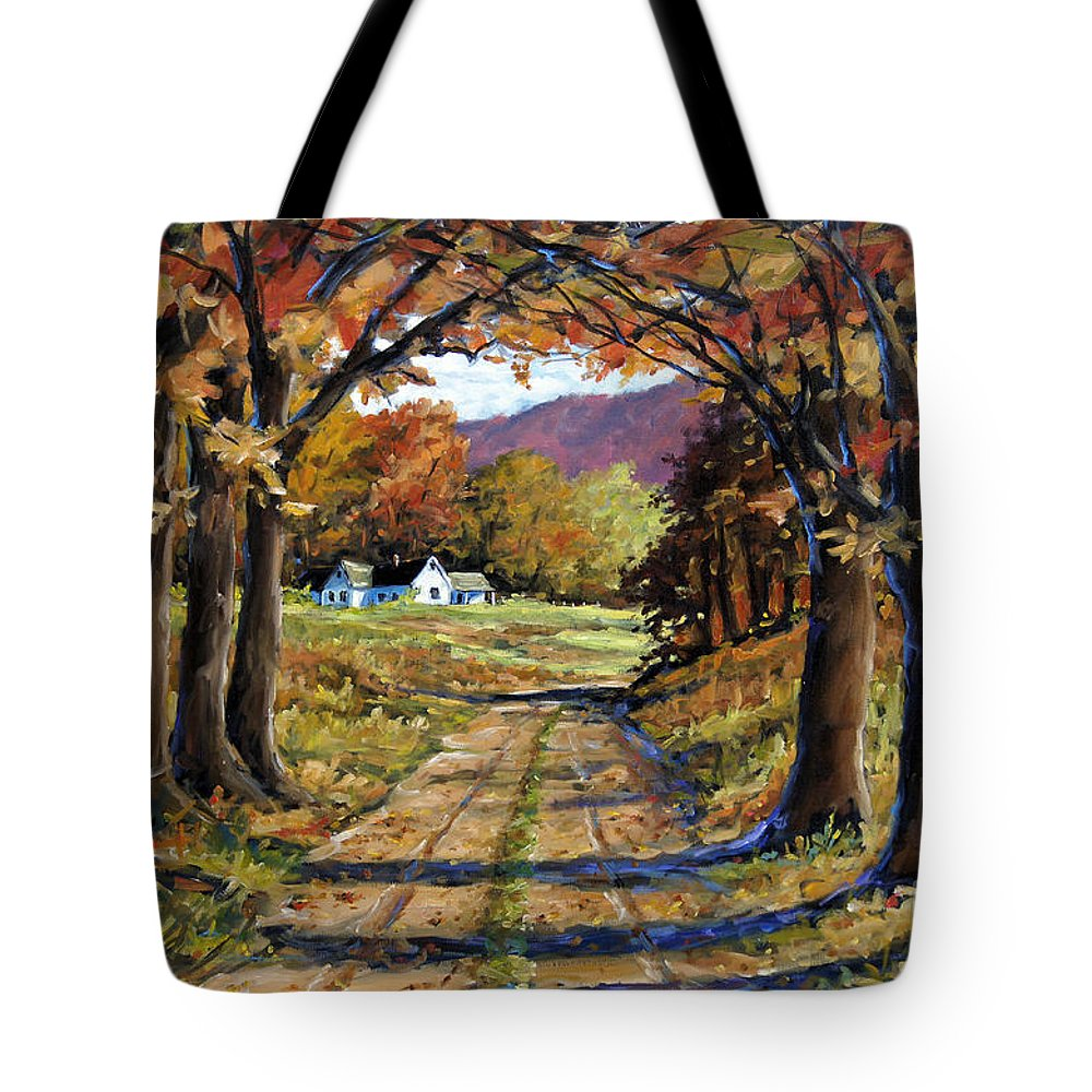 Canadian Landscape Created By Richard T Pranke Tote Bag featuring the painting Country Livin by Richard T Pranke