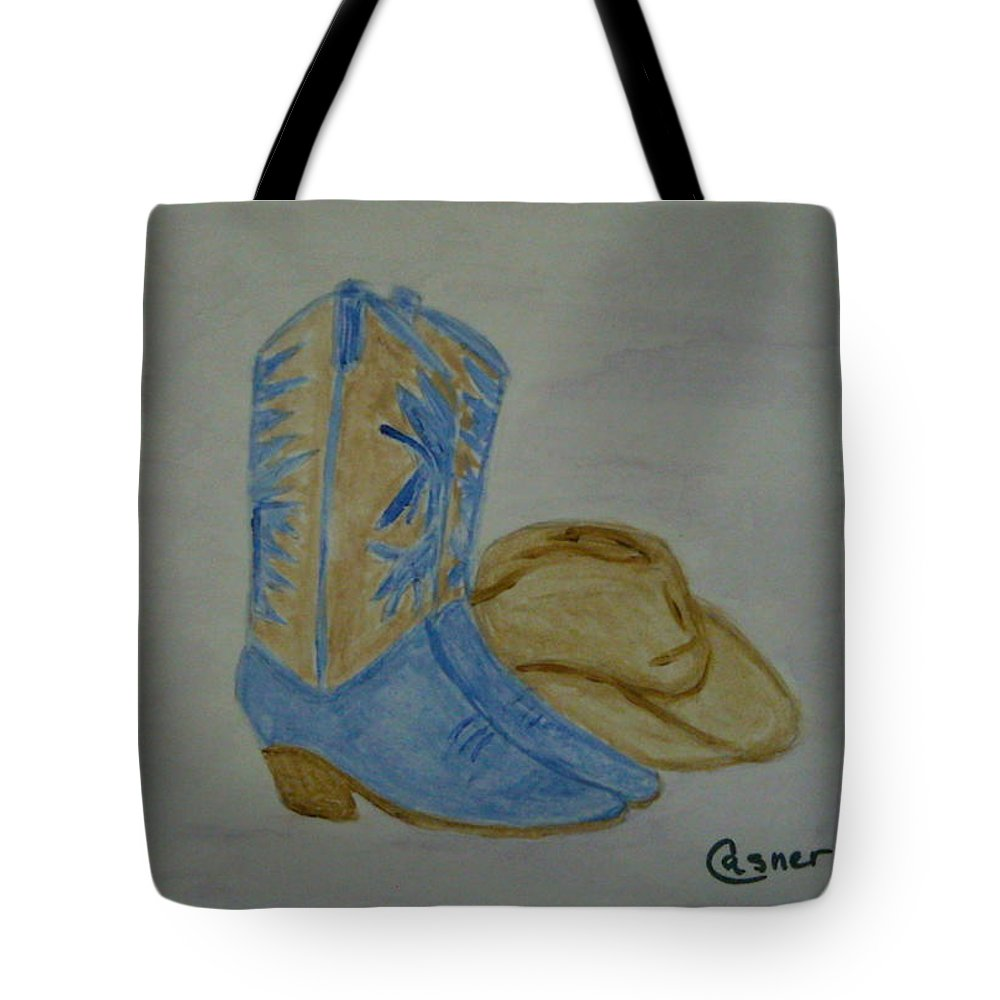 Cowboy Cowgirl Stetson Boots Cowboy Boots Ranch Range Southwest Az Ca Tx Ut Co Country Song Country Music Fiddle Tote Bag featuring the painting Country Music by Colleen Casner