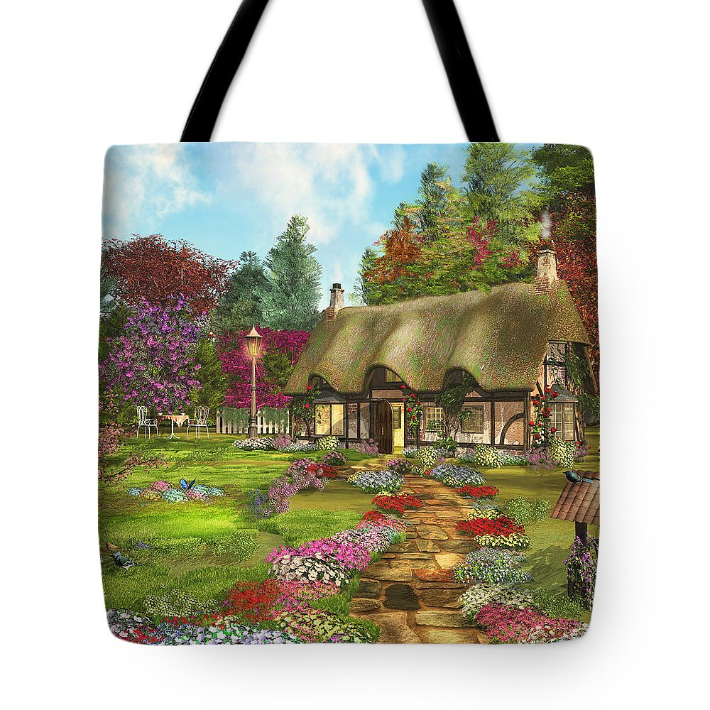 Art Licensing Tote Bag featuring the mixed media Country Path by Caplyn Dor