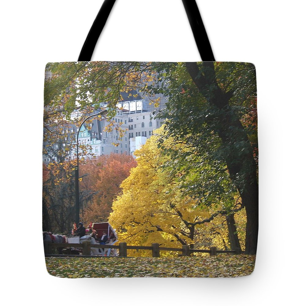 central Park Tote Bag featuring the photograph Country Ride In The City by Barbara McDevitt