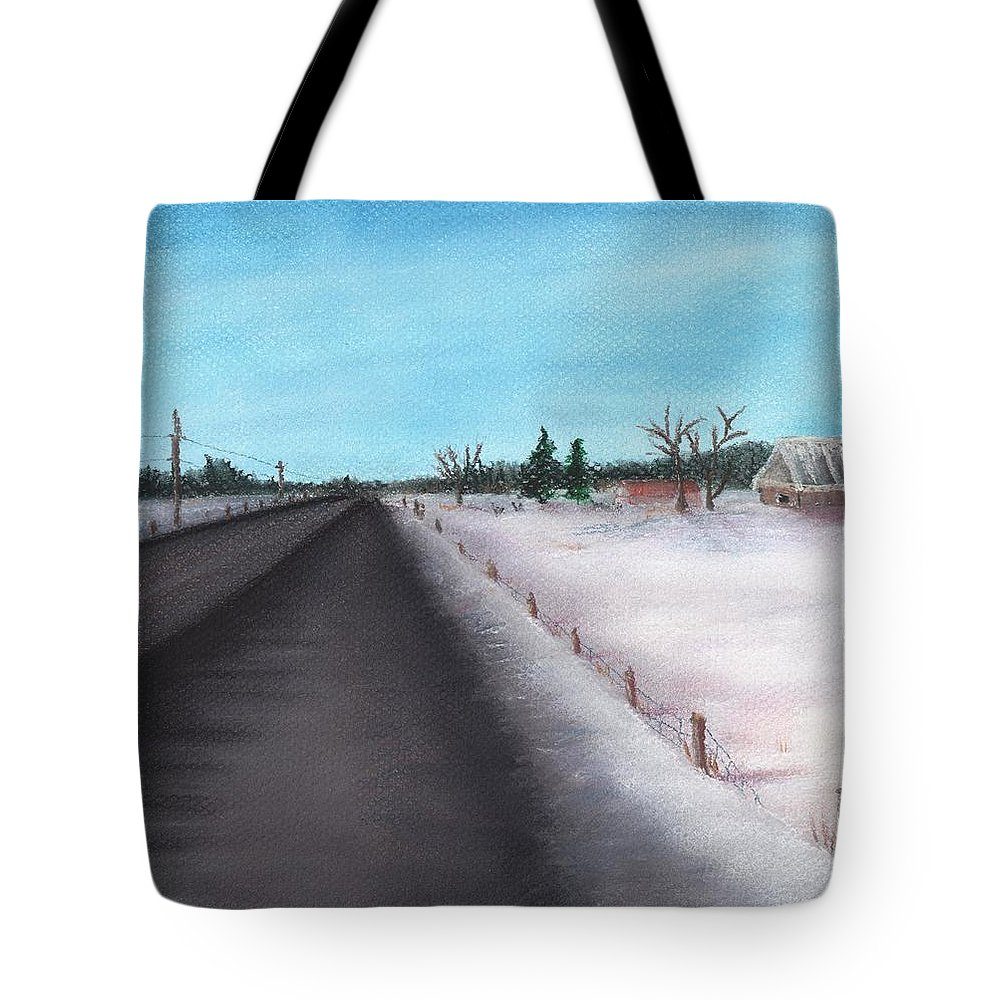 Calm Tote Bag featuring the painting Country Road by Anastasiya Malakhova