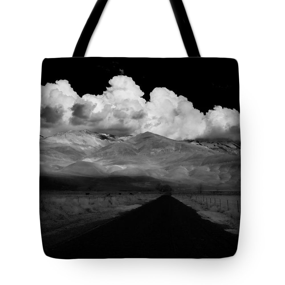 Clouds Tote Bag featuring the photograph Country Road by Cat Connor