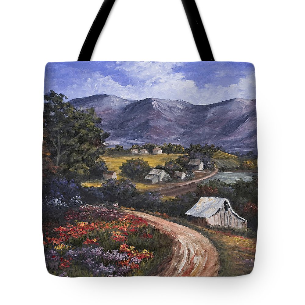 Landscape Tote Bag featuring the painting Country Road by Darice Machel McGuire