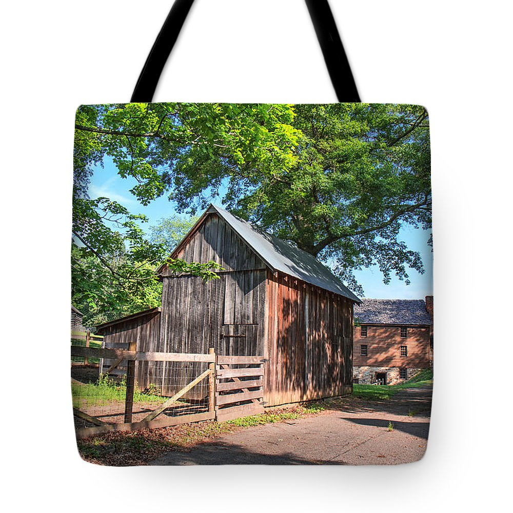 Jackson's Mill Tote Bag featuring the photograph Country Road Farm by Mary Almond