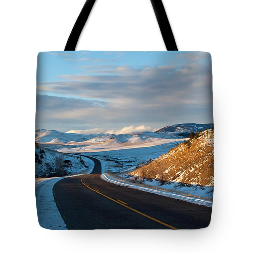 Road Tote Bag featuring the photograph Country Road by Fran Riley