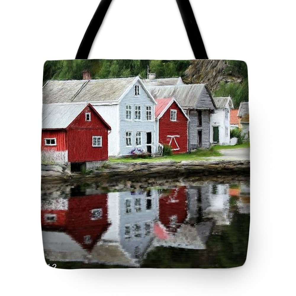 Lake Tote Bag featuring the painting Country Town by Bruce Nutting