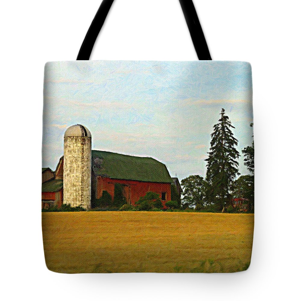 Country Tote Bag featuring the photograph County Barn - Digital Painting Effect by Rhonda Barrett