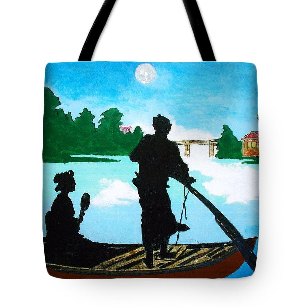 Original Tote Bag featuring the painting Coppia Alla Luce Della Luna by Roberto Prusso